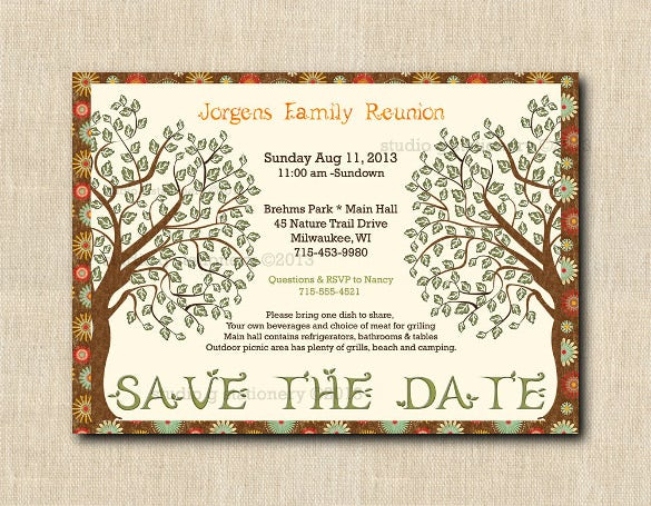 34 family reunion invitation template free psd vector for Diy save the date magnets template