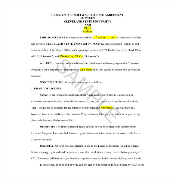 12 license agreement templates free sample example format