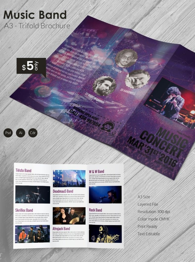 beautiful music band a3 tri fold brochure template