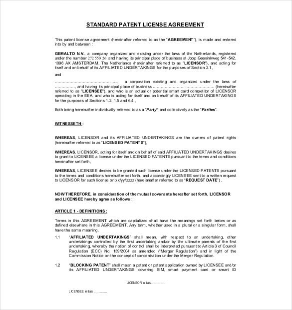 13 license agreement templates free sample example format gemalto this sample patent license agreement can be used to create the perfect agreement with a licensee it includes the terms of sale and use of the platinumwayz
