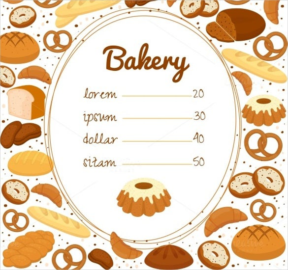 bakery menu or price poster template download