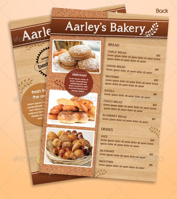 bakery menu flyer ai illustrator template download