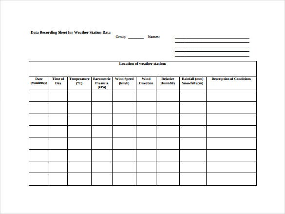 format of data recording sheet for weather station free download