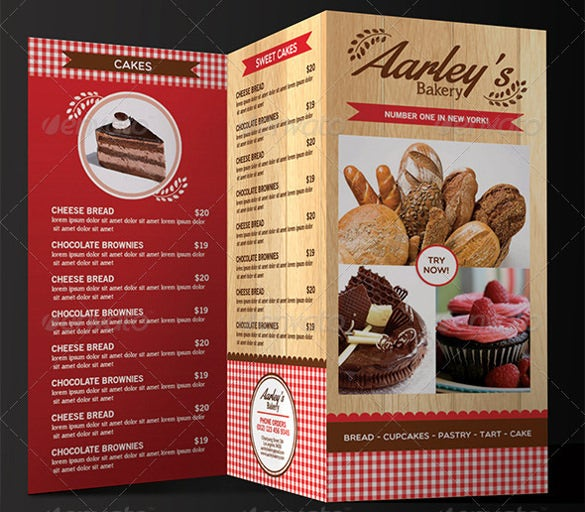 bakery menu templates