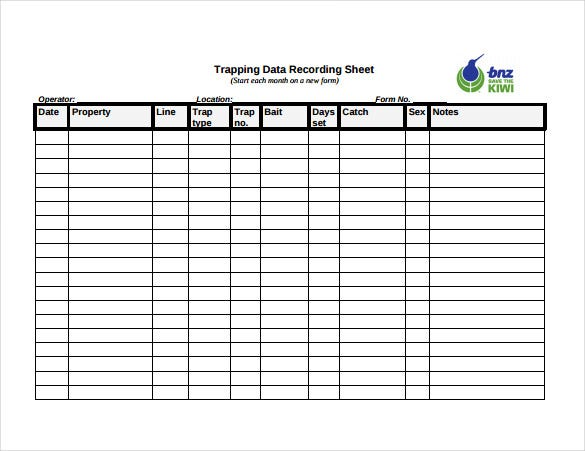 example of trapping data recording sheet free download