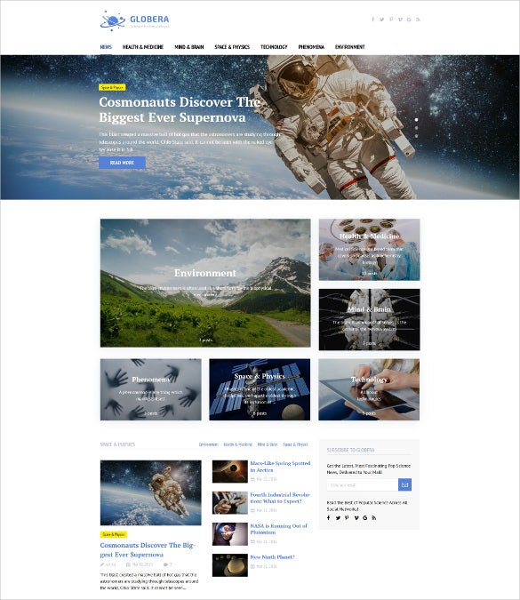 globera scientific magazine wordpress theme