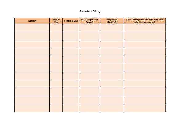 Contact Call Log PDF Template