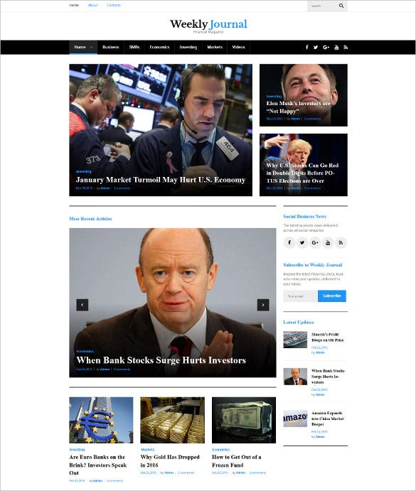 weekly journal financial magazine wordpress theme