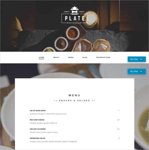 plate professional restaurant cafe wordpress theme