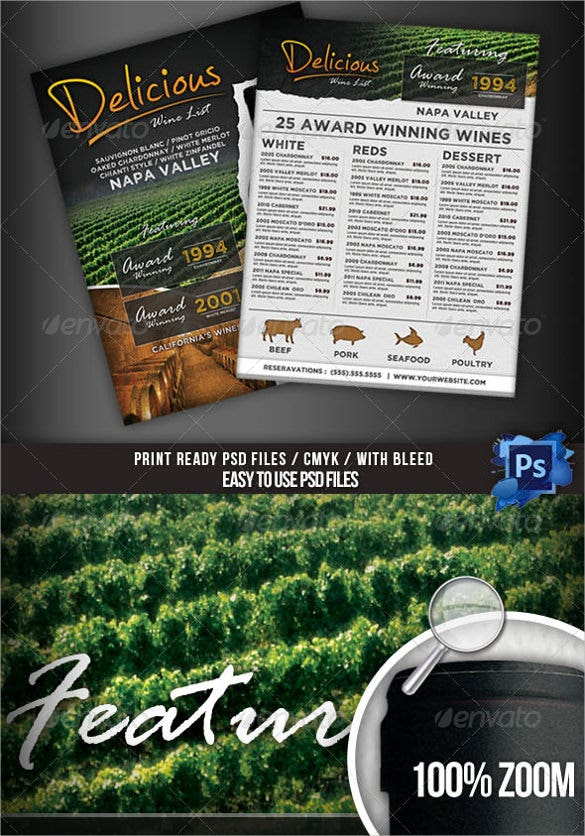 wine list menu flyer template download