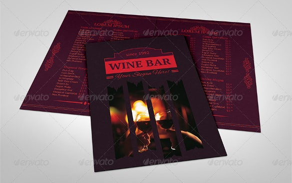 wine bar menu design template download