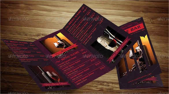 wine bar trifold menu template download