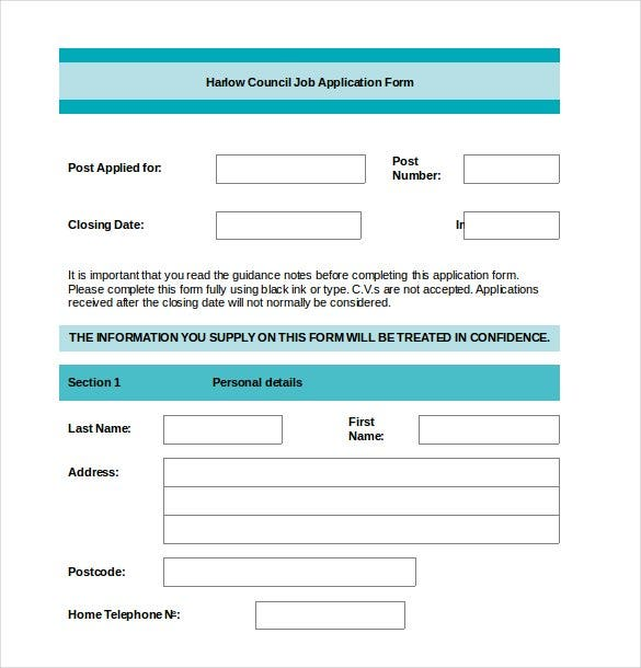 job application template