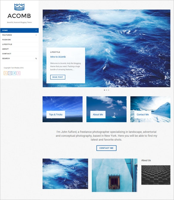 acomb responsive blogging wordpress theme
