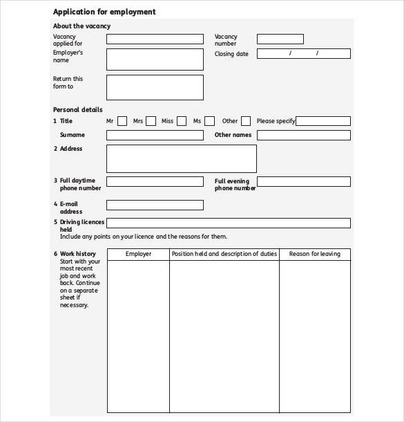 job application template 19 examples in pdf word free