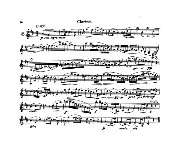 format of clarinet music sheet free download