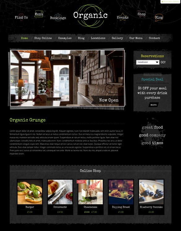 organic grunge cafe wordpress template