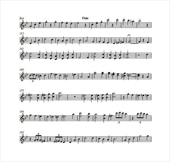 example music sheet template for flute free download