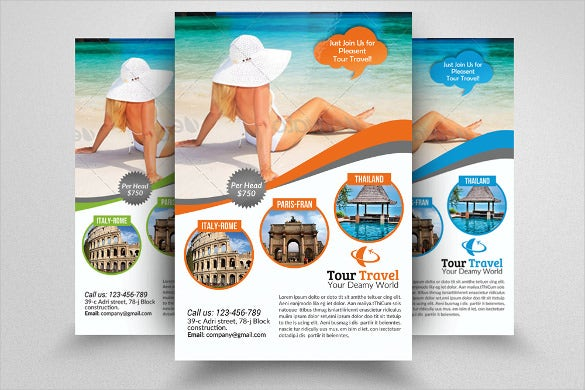 Travel flyer template 43 free psd ai vector eps for Travel agency brochure template