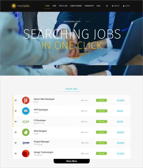 meshjobs a complete job portal wordpress theme