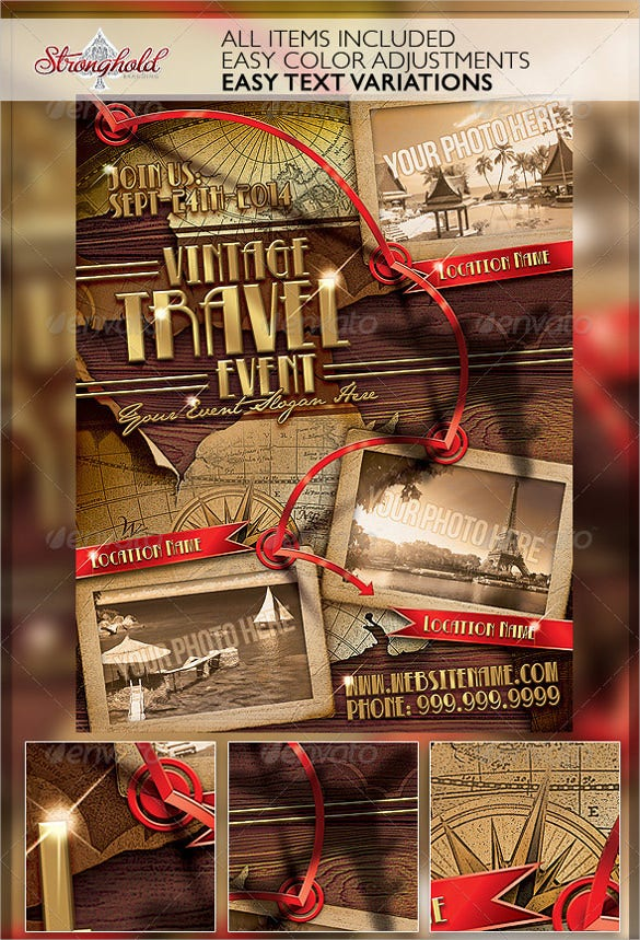 vintage travel flyer template