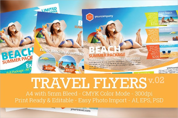 beach travel flyer template