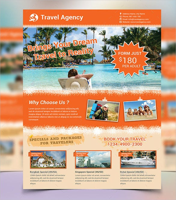 colorful travel flyer template