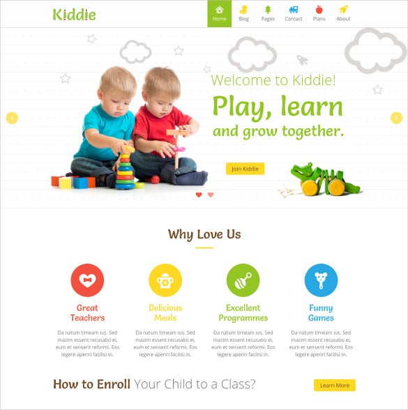 kiddie kindergarten wordpress theme