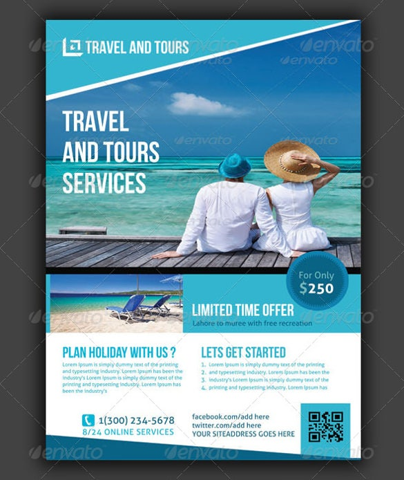 blue travel flyer template