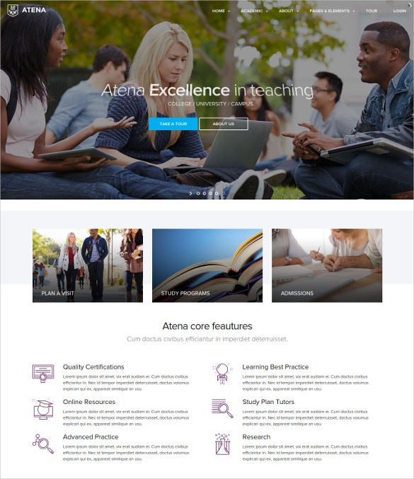 atena college university campus wordpress theme