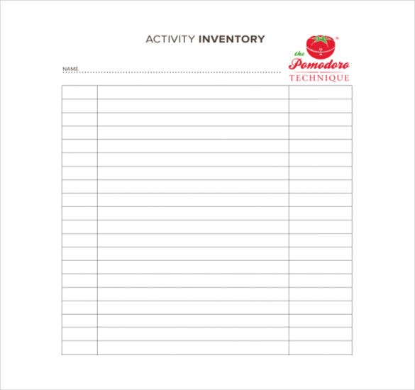 activity inventory free pdf format template
