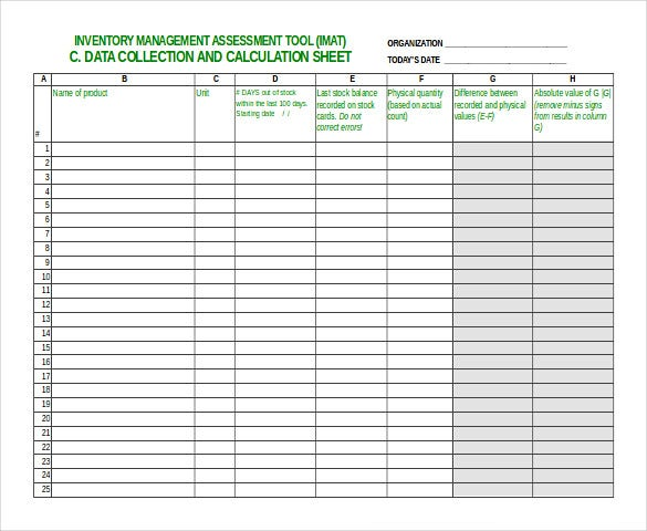 sample inventory sheet excel