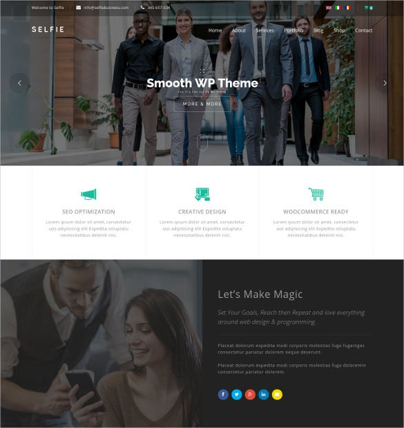selfie responsive multi purpose wordpress theme
