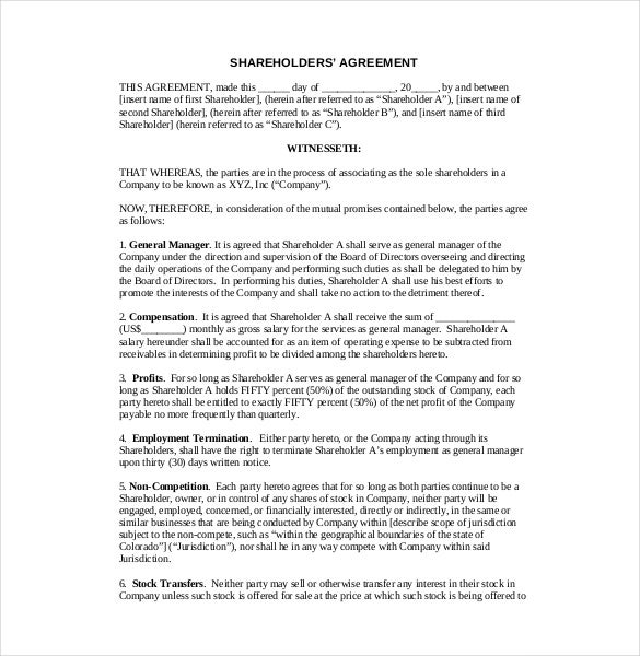 10+ Shareholder Agreement Templates – Free Sample, Example, Format