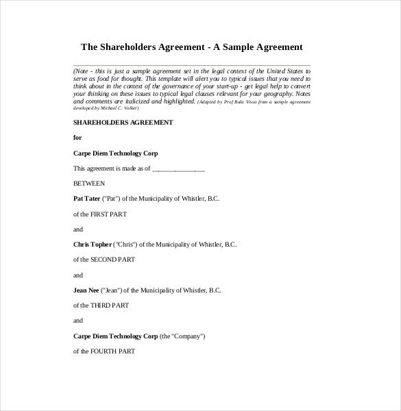 Shareholder Agreement Fileshareholders Agreement With Shareholder