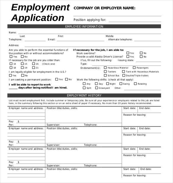 free downloadable employment application form template