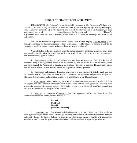 10 Shareholder Agreement Templates Free Sample Example Format – Letter to Shareholders Example