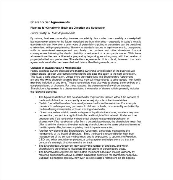 free download shareholder agreement