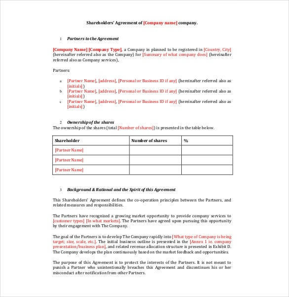 Shareholder Agreement Templates  Free Sample Example Format