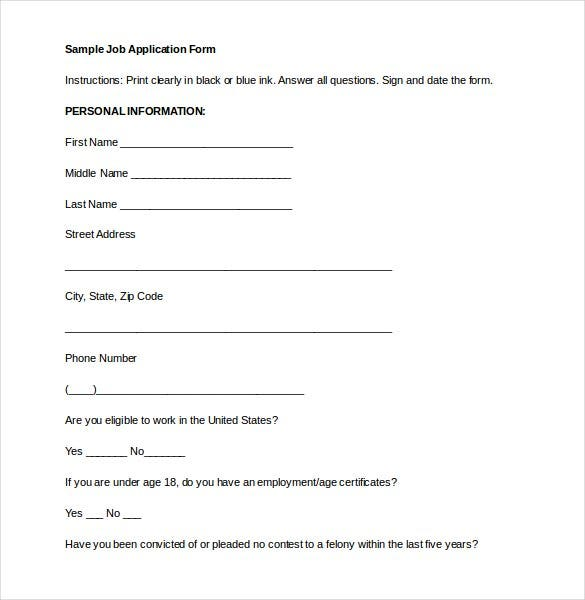 Employment Application Template   Examples In  Word  Free