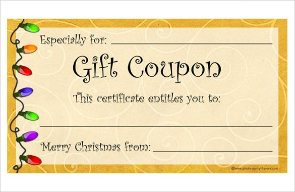 Homemade coupon templates 23 free pdf format download for Homemade christmas gift certificates templates