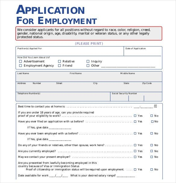 Free Employment Application Template  NinjaTurtletechrepairsCo