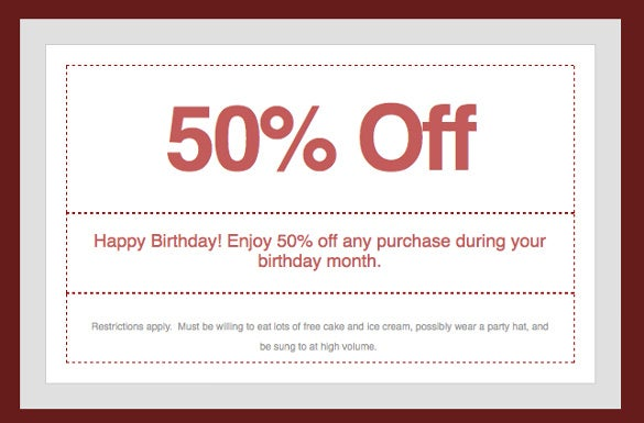 Homemade Birthday Discount Coupon Free Download  Discount Coupons Templates