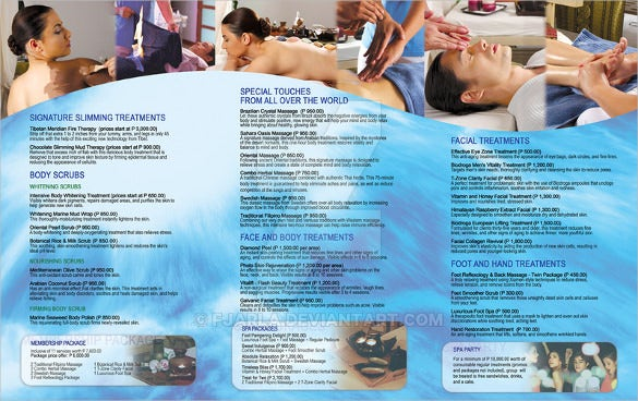 tri fold spa services menu template download