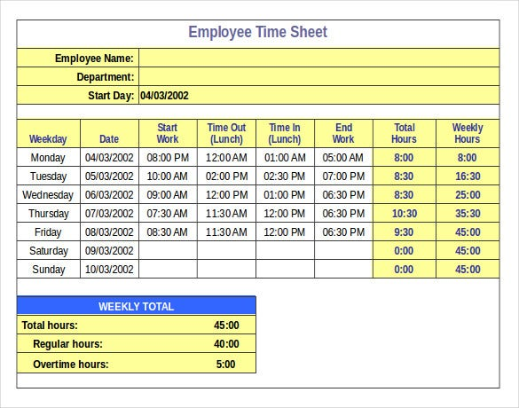 example inventory template for employee time sheet