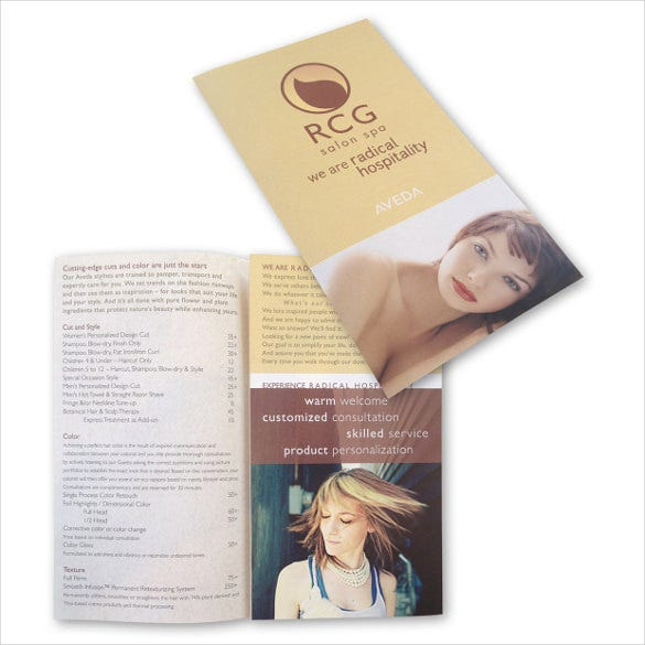 rcg salon and spa menu brochure template download