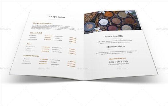 Example Spa Menu Brochure Template Download
