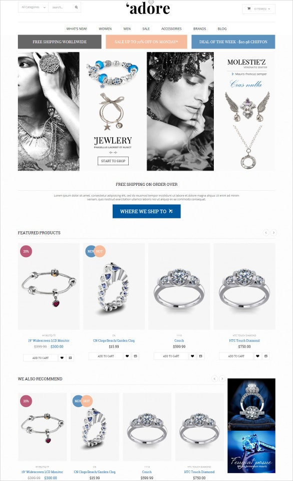 responsive jewelry fashion magento html5 theme