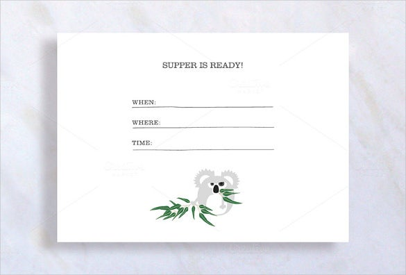 Koala Dinner Invitation Template  Dinner Invitation Template