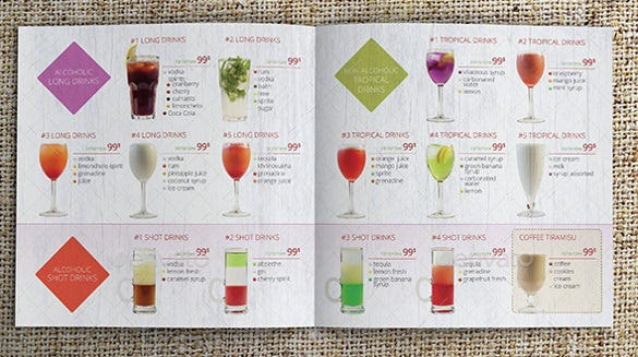 glasses cocktail menu template